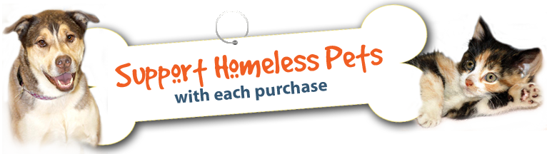 Support homeless pets with each purchase.