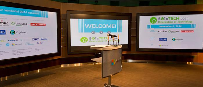 nonprofit event backdrop slide design
