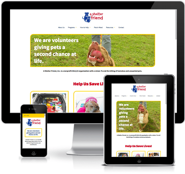 A Shelter Friend rescue website design