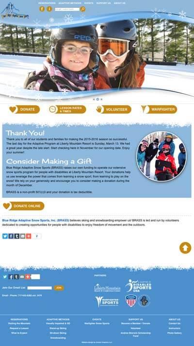 Previous website design, desktop view.