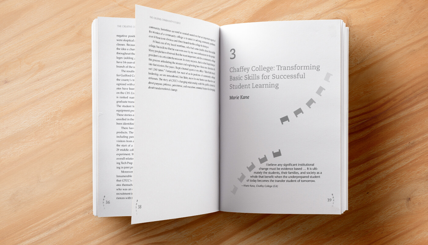 The Creative Community College book design and layout