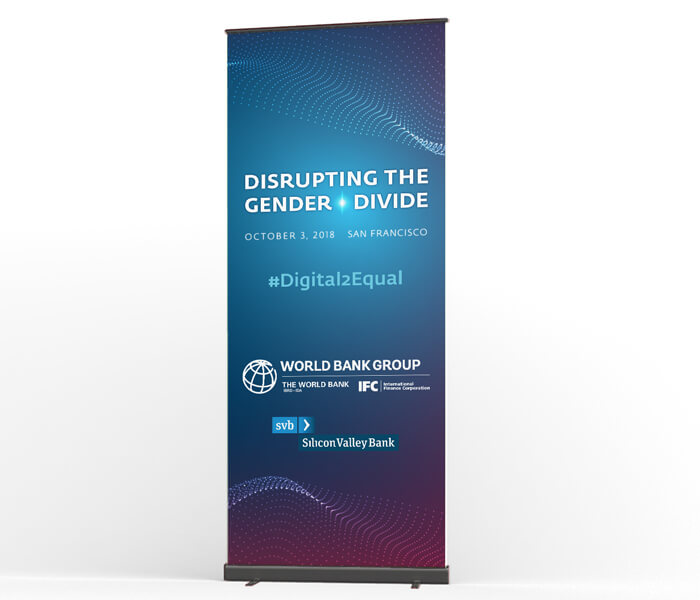 Self-standing conference banner