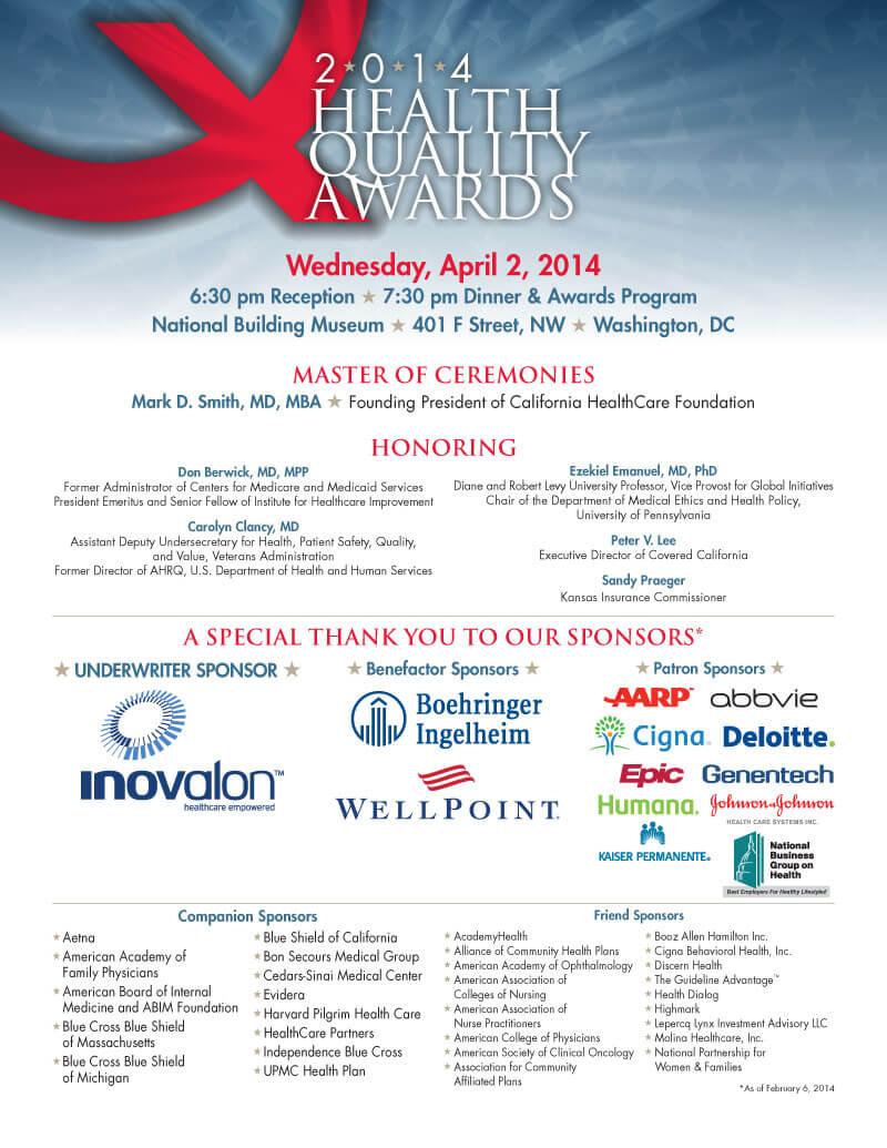 Health Quality Awards gala   Design for Washington, DC nonprofit event