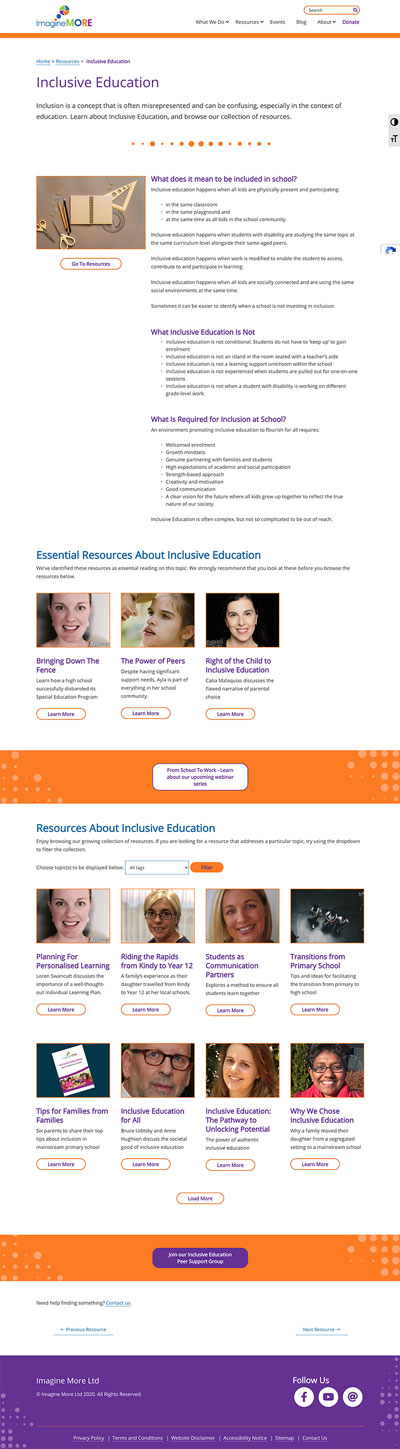 Imagine More Education page design.