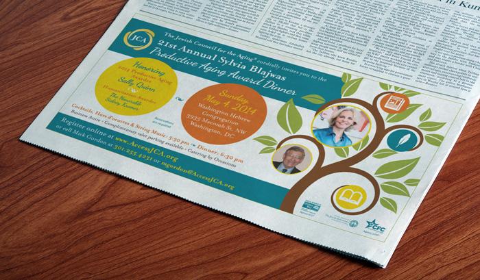nonprofit dinner event print ad design