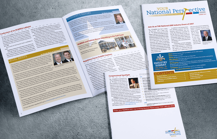 NLBMDA newsletter design and layout
