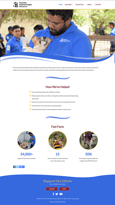 Tsunami Animal-People Alliance website design
