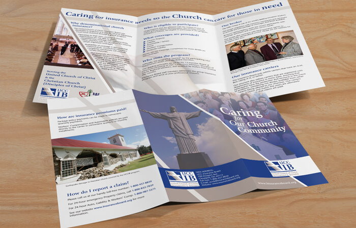 church insurance brochure design